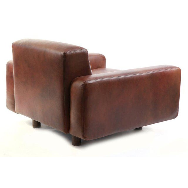 1970s Metropolitan Leather and Bronze Lounge Chairs - Set of 4 For Sale - Image 5 of 7