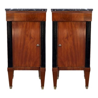 Early 20th French Nightstands Walnut and Ebonized Columns With Drawers and Door For Sale