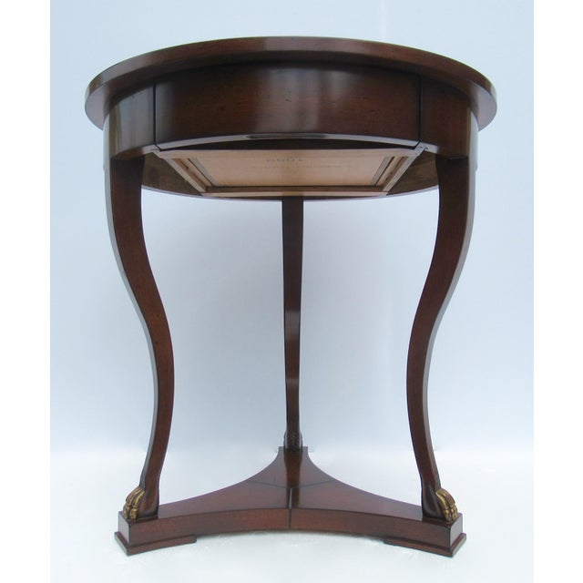 "C.1998 Nancy Corzine -Round English Walnut ""DeSilva"" Side Table, With Gilt Paw Feet & Single Drawer For Sale In West Palm - Image 6 of 13"