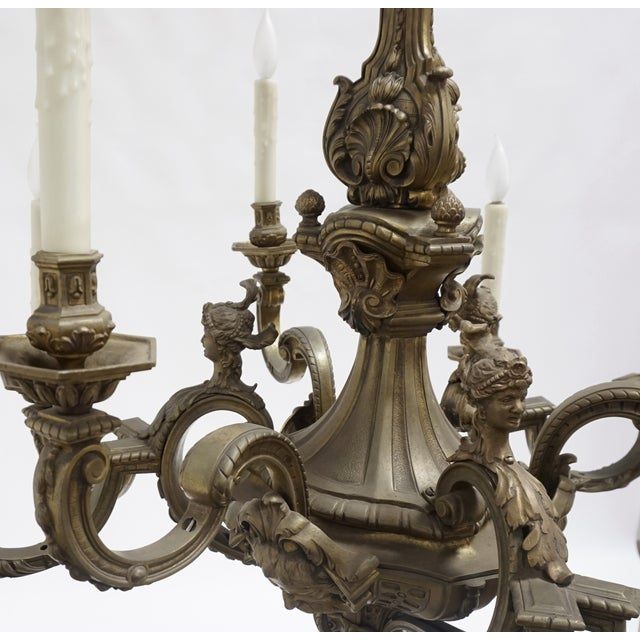 19th Century Second Empire Detailed Faces & Acanthus Leaf Bronze Chandelier For Sale - Image 11 of 11