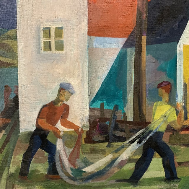 Cubism Mid-Century Cubist Style Scenery Oil Painting by Howard Mandel For Sale - Image 3 of 6