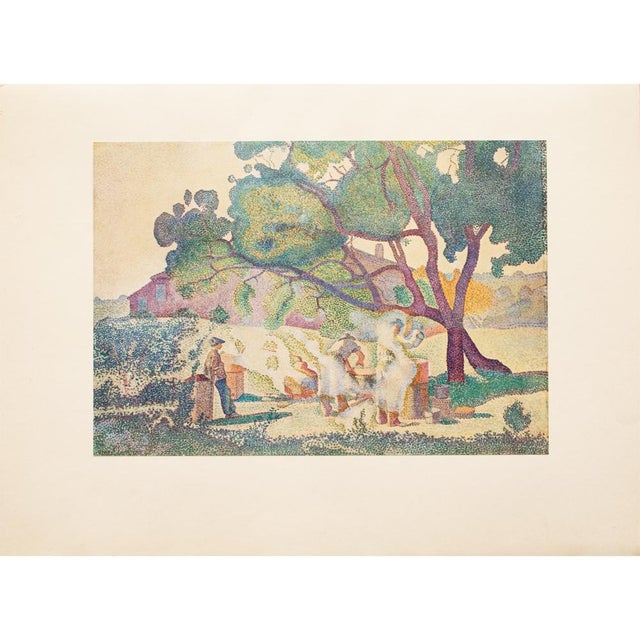 """Original tipped-in lithograph after painting """"Les Bouilleurs De Cru"""" (The Boilers of Cru) by French painter Henri-Edmond..."""