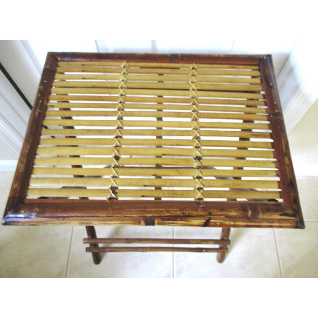 Boho Chic 1970s Bamboo Folding Table For Sale - Image 3 of 10
