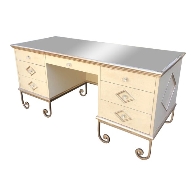 Vintage Art Deco Mirror Top Vanity Dressing Table Writing Desk For Sale