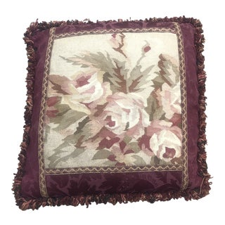 French Aubusson Tapestry Floral Square Fringed Pillow For Sale