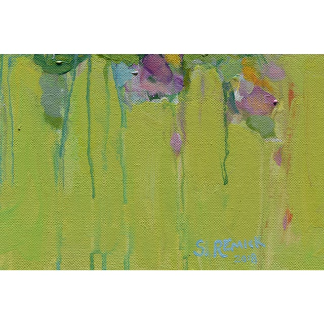 Stephen Remick Stephen Remick Abstract Bouquet on Green Background Painting For Sale - Image 4 of 11
