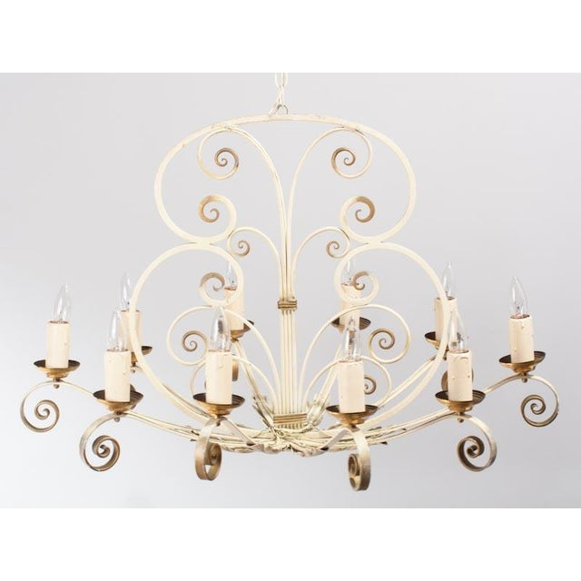 French painted metal 10 light chandelier 1940s chairish this 1940s french chandelier purchased in the city of lyon is made of white aloadofball Image collections