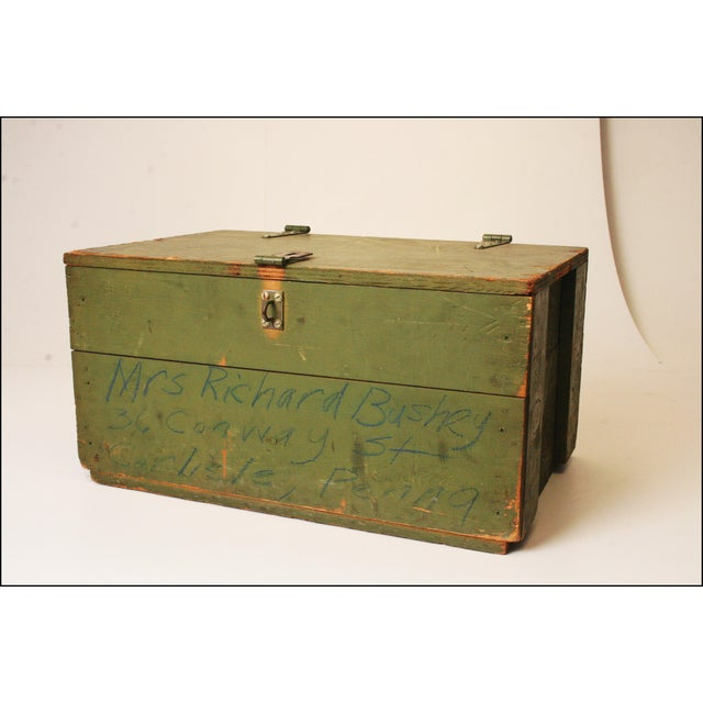Vintage Distressed Green Military Trunk - Image 2 of 11