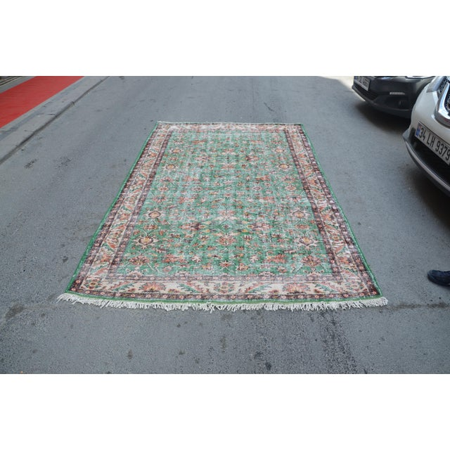 Textile 1960s Turkish Tribal Handwoven Beige and Green Wool Floor Rug For Sale - Image 7 of 7