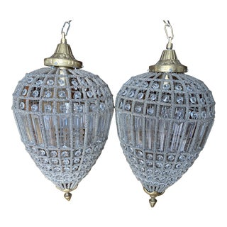 Hanging Pendant Chandeliers - a Pair** For Sale
