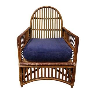 Rattan Armchair with Blue Cushion For Sale