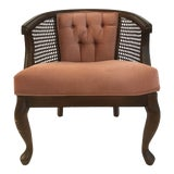 Image of Dusty Rose Caned Barrel Chair For Sale