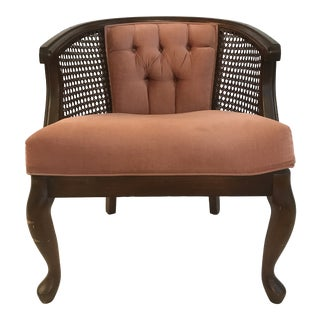 Dusty Rose Caned Barrel Chair For Sale