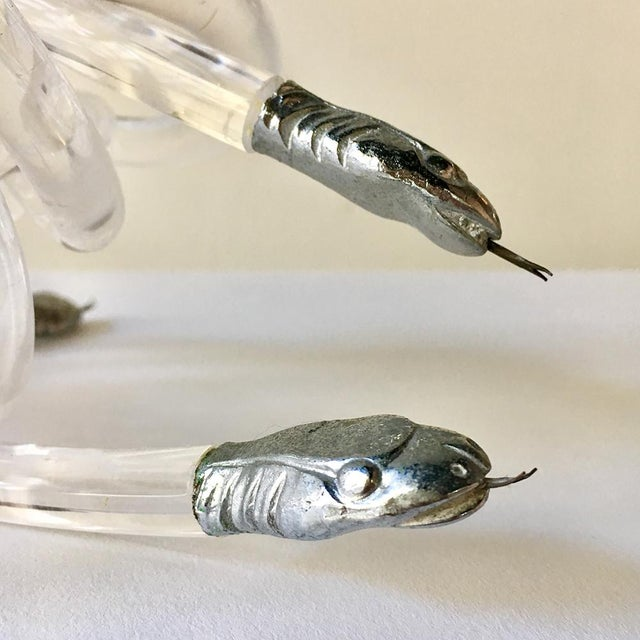 Mid-Century Modern Lucite Snake Table Sculpture Attributed to Alessandro Albrizzi For Sale - Image 3 of 4