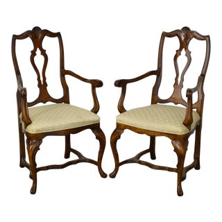 Vintage Italian Walnut Arm Chairs - a Pair