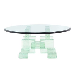 Thick Heavy Solid Glass Blocks Glass Top Coffee Table