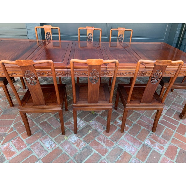 Vintage Solid Rosewood Dining Set - 9 Pieces For Sale - Image 4 of 13