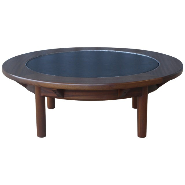 Mahogany Coffee Table With Slate Top For Sale