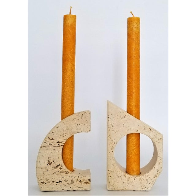 Raymor Rare Italian 1960s Travertine Candlesticks by Fratelli Mannelli- a Pair-Mid Century Modern MCM Minimalism Art Deco Italy Marble Raymor For Sale - Image 4 of 12