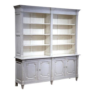 19th Century French Louis XVI Carved & Painted Open Bookcase