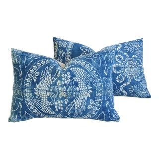 "Blue & White Shanghai Batik Chinoiserie Feather/Down Pillows 23"" X 16"" - Pair For Sale"