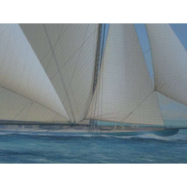 White 21st Century Vintage Yacht Racing Painting Possibly America's Cup by Richard Lane For Sale - Image 8 of 12