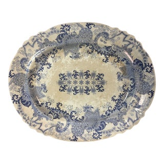 Early 20th Century Antique Toile Platter For Sale