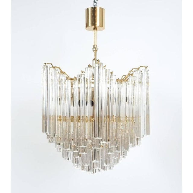 Brass Four-Tier Chandelier with Murano Glass Triedri Prisms For Sale - Image 7 of 7