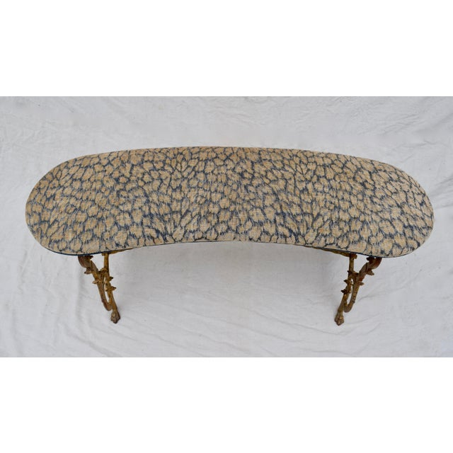 Early 20th Century Gilt Iron Bench in Indigo Blue Leopard For Sale - Image 5 of 13