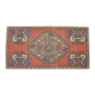 """Distressed Low Pile Oushak Yastik Rug Low Pile Faded Mat - 20"""" X 37"""" For Sale"""