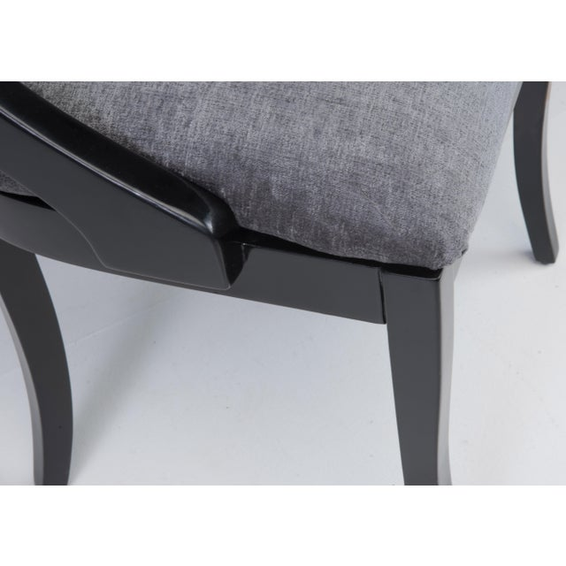 Klismos Dining Chairs Pietro Constantini Ello Black Lacquer Unmarked 1970s a Set of Six For Sale - Image 12 of 13