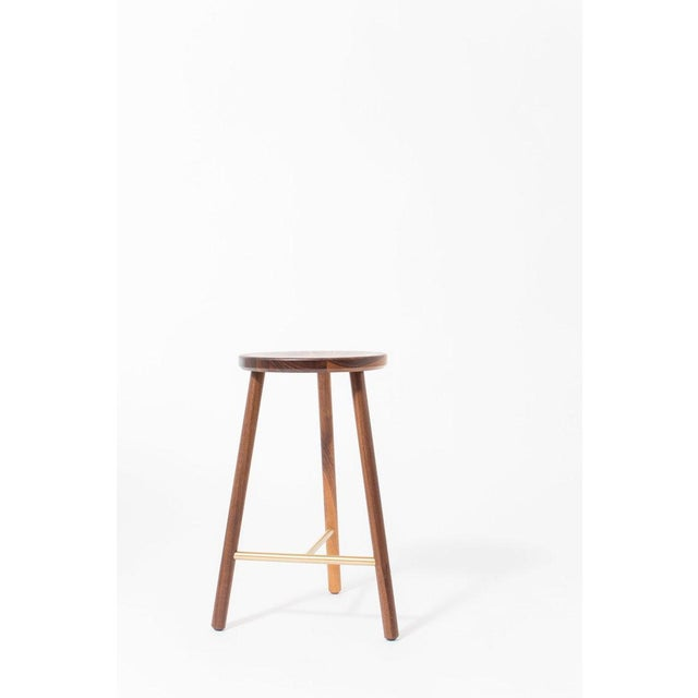 Steven Bukowski Steven Bukowski Contemporary Scout Stool in Walnut and Brass For Sale - Image 4 of 5