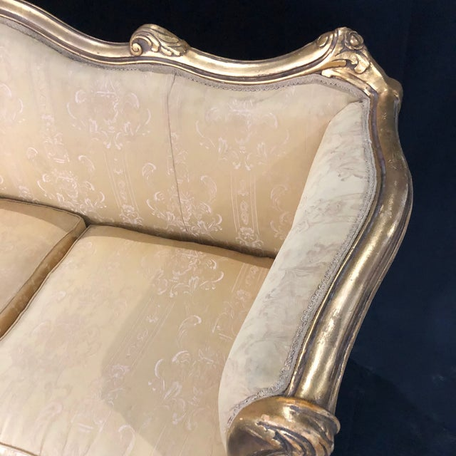French Louis XV Style Giltwood Sofa For Sale - Image 4 of 13