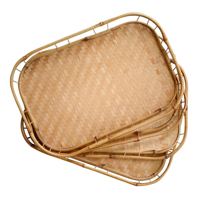 Bamboo & Wicker Serving Trays - Set of 4 - Image 1 of 3