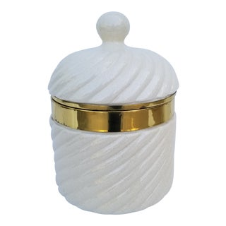 1970s Tommaso Barbi Ceramic and Brass Ice Bucket For Sale