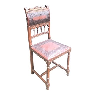 Antique Gothic Jacobean Style Wood and Leather Side Chair For Sale