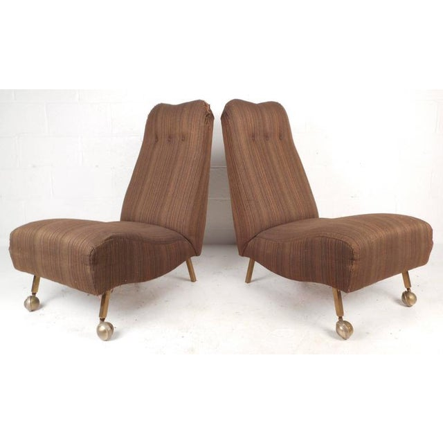 Mid-Century Modern High Back Slipper Chairs - A Pair - Image 2 of 9