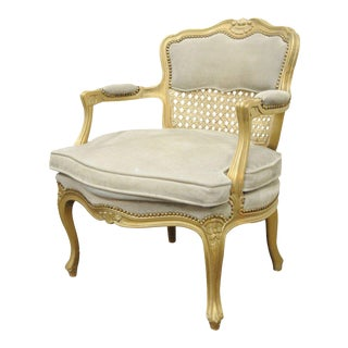 Fratelli Boffi French Louis XV Style Gold Suede Cane Back Bergere Arm Chair Italy