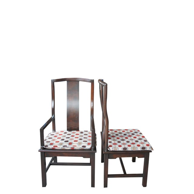 1970s Vintage Century Furniture Chinese Ming Style Burlwood Asian Dining Chairs- Set of 8 For Sale - Image 6 of 13