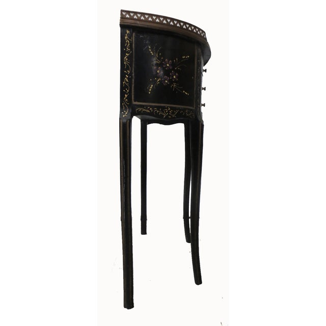 Mid-Century Black Demilune Side Tables - A Pair - Image 7 of 8