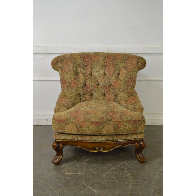 Schnadig Compositions French Louis XV Style Tufted Bergere Lounge Chair - Image 2 of 10