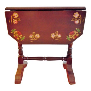 18th Century Style Folk Art Drop Leaf Table