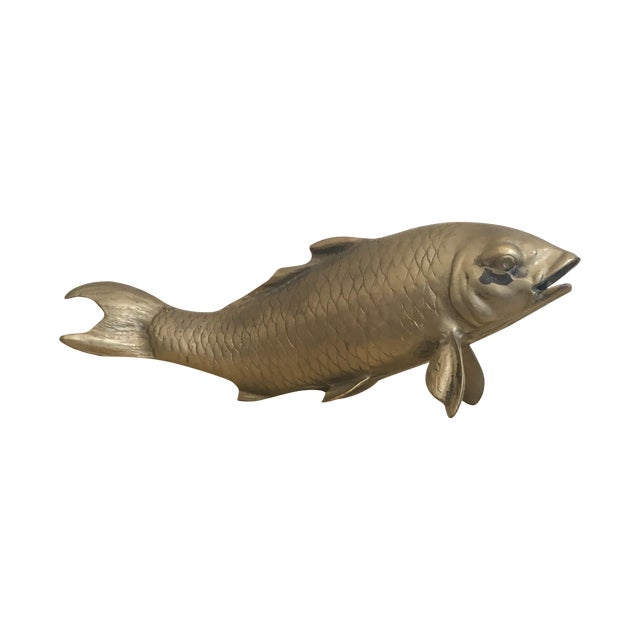 Vintage Mid-Century Asian Brass Koi Statue - Image 1 of 8