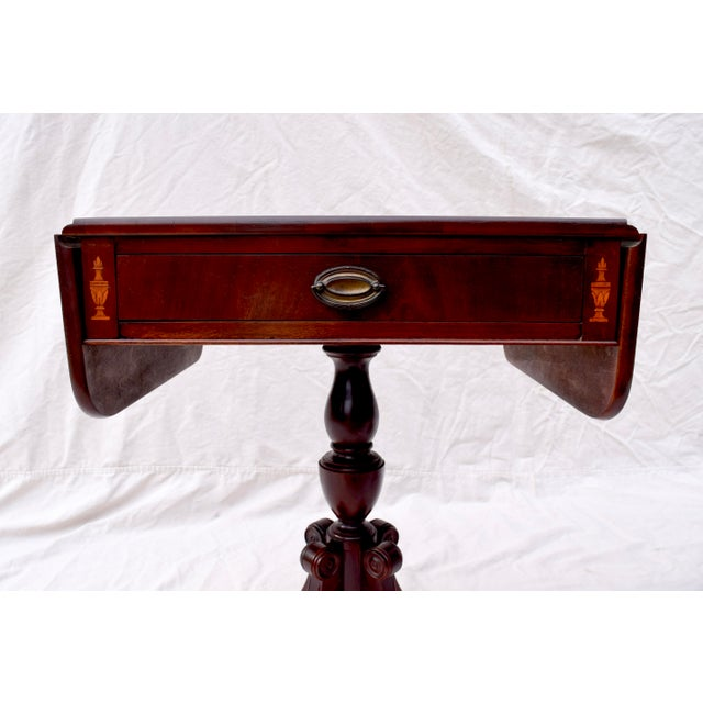 Neoclassical Mahogany Pembroke Tables With Inlay Detail, Pair For Sale - Image 3 of 13