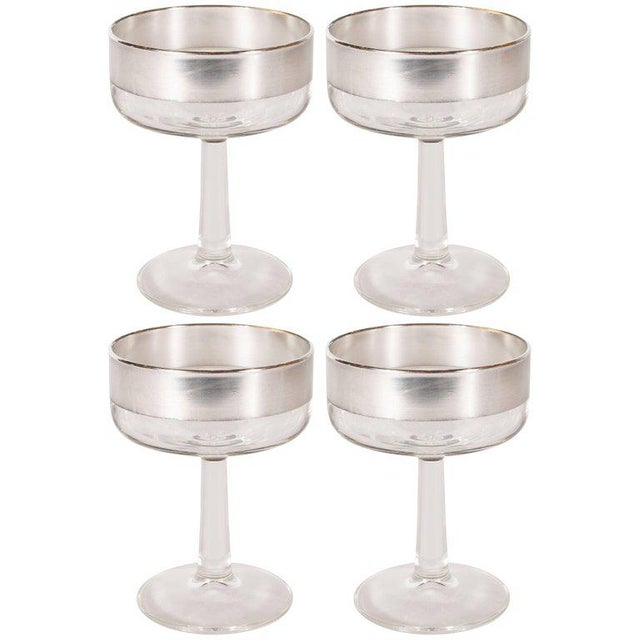 Glass Set of Four Mid-Century Modern Champagne Coupes by Dorothy Thorpe For Sale - Image 7 of 7