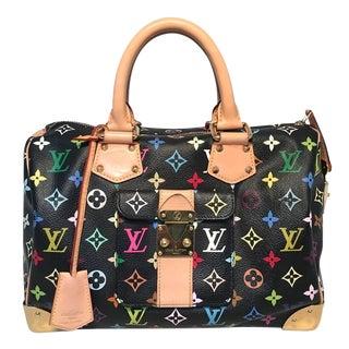 Louis Vuitton Limited Edition Black Monogram Murkami Speedy Bag For Sale