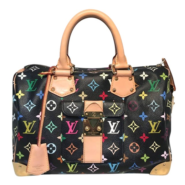 be2b6be72fdd Louis Vuitton Limited Edition Black Monogram Murkami Speedy Bag For Sale