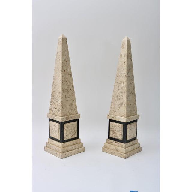 Beautiful Pair of Marble Obelisks in Tan and Black.