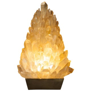 Amber Rock Crystal Table Lamp, Signed by Demian Quincke For Sale