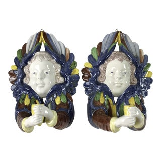Italian Majolica Wall Sconce Candle Holders - A Pair For Sale